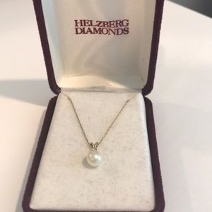 Freshwater pearl, diamond, 14k gold necklace